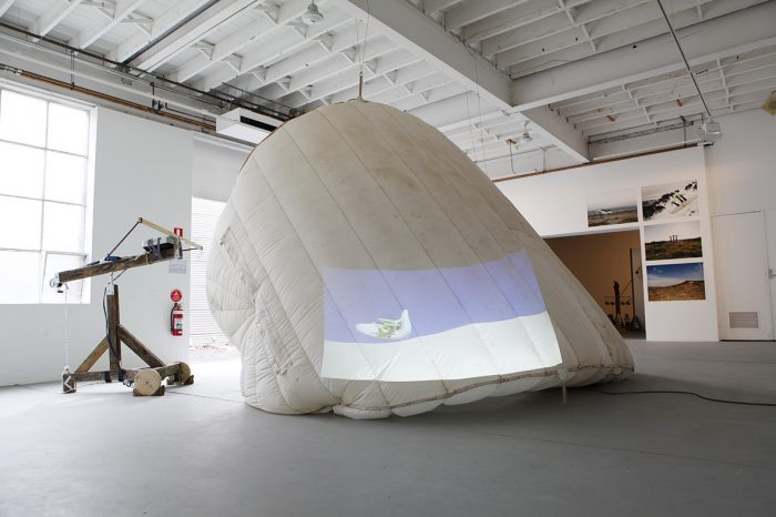The inflatable island sculpture installation view