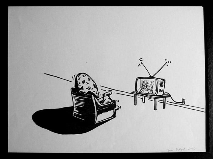 dej hoved ser tv 30x40cm copy